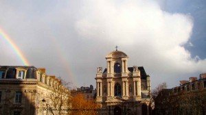 Saint Gervais with a double rainbow