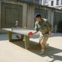 Playing ping-pong behind the Picasso Museum in the park