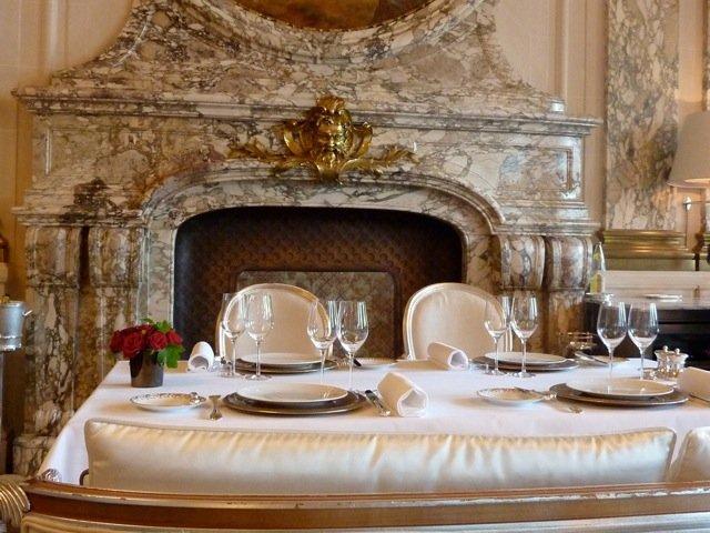 Le Meurice Restaurant scene looking at fireplace, Paris, Yannick Alléno, Chef des Cuisines