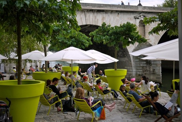 The Flammarion publishers have a lending library reading area during Paris-Plages 2010
