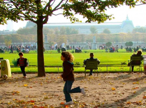 Children running in the Tuileries Garden, Paris, Autumn