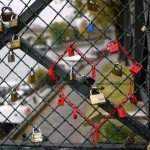 Locks and chain in the shape of Heart on Pont des Arts