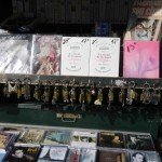 Bouquiniste stand with padlocks among the books