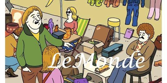 Flea Market illustration by Pierre La Police Le Monde accompanying article by Guillemette Faure Le Monde