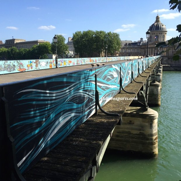 Official graffiti Pont des Arts, Institut de France in background