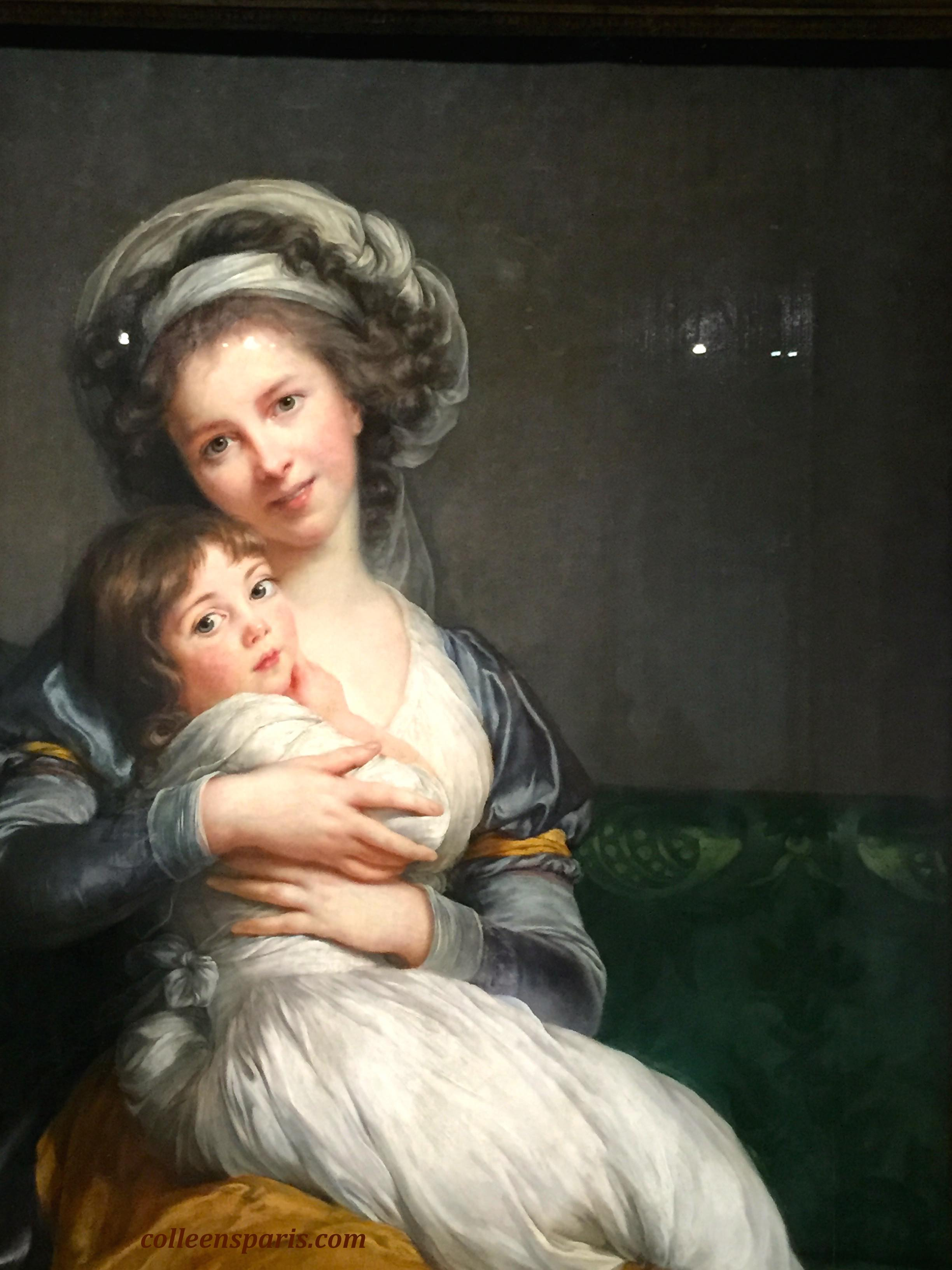 Maternal Tenderness (1786) Salon 1787 one of three paintings shown at the salon exulting the joys of motherhood, reflecting the new spirit of the time, fashionable to express sentimentalism.