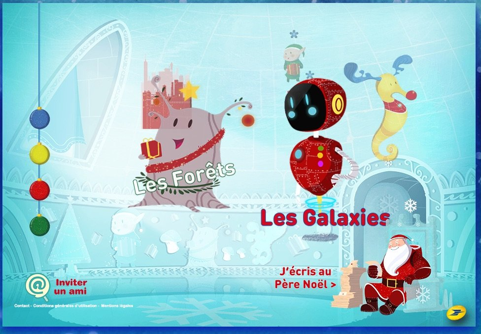 La Poste page - write to Santa, send to a friend, choose a game or find lots of fun in the bonus section Christmas