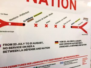 RER A sign for closure July 23 to August 21, no service between La Défense and Nation alternatives available
