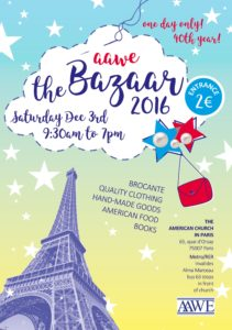 AAWE Association of American Women in Europe poster for December bazaar