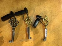 Keys of either brass (more expensive) or mixed metals