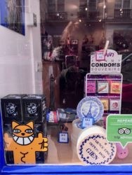Store front Bring France Home Monsieur chat, condoms, plate