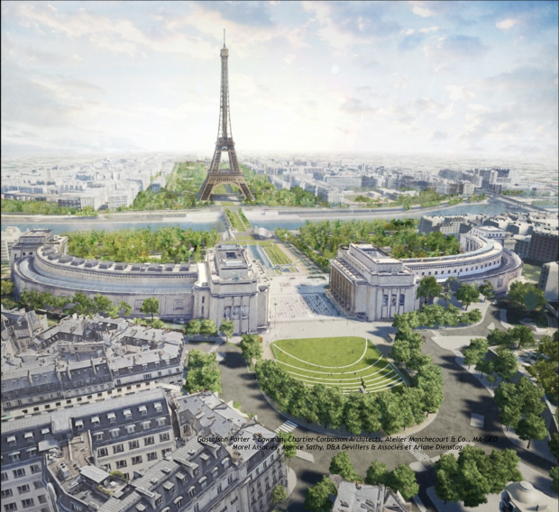 "Image shows the Eiffel Tower Green project ""OnEI"""