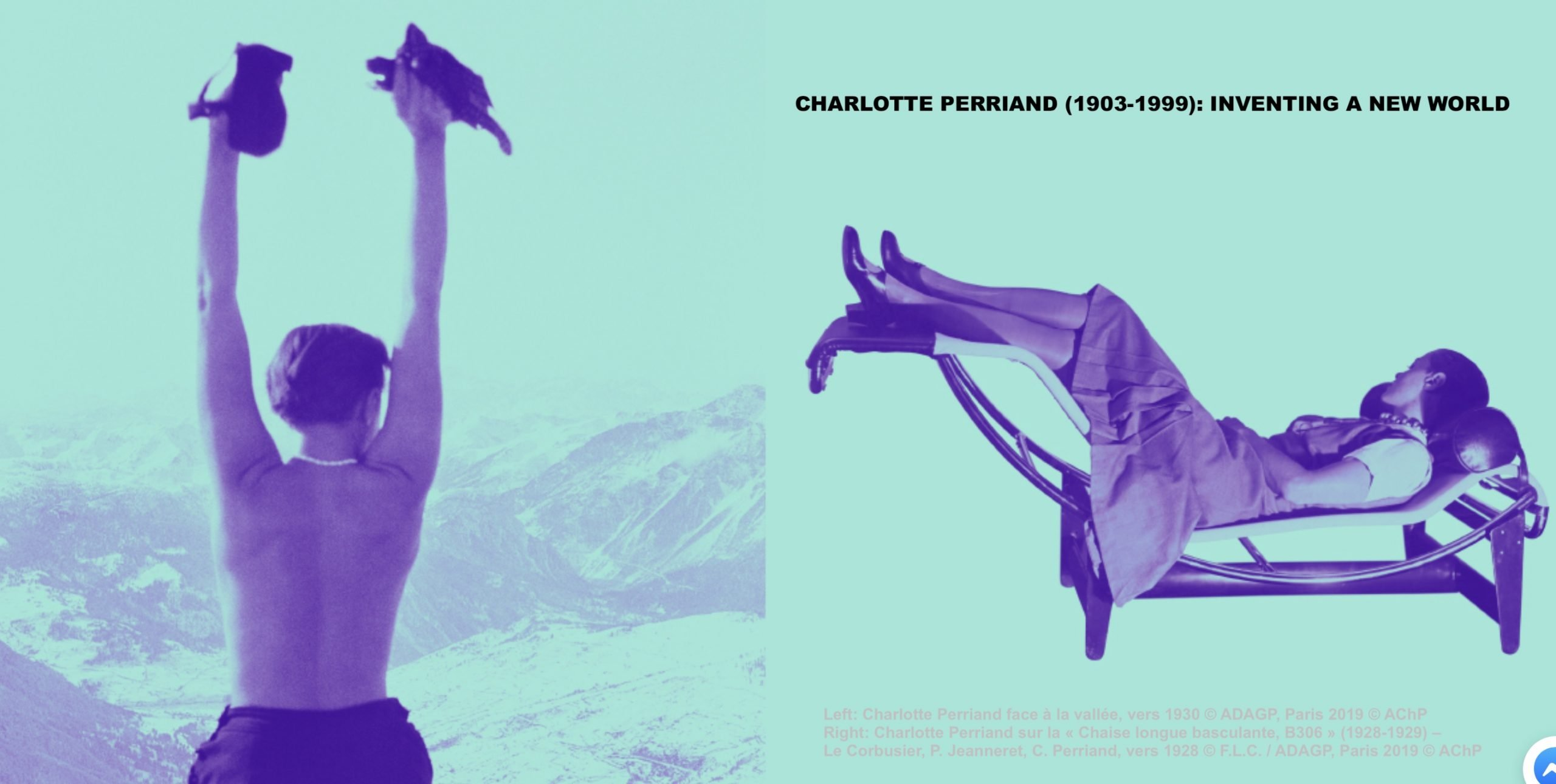 "Two images of Charlotte Perriand facing the valley and on the ""Chaise basculante"" Tilting Chair"