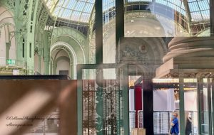 Reflections through a window of the Grand Palais exhibition set up